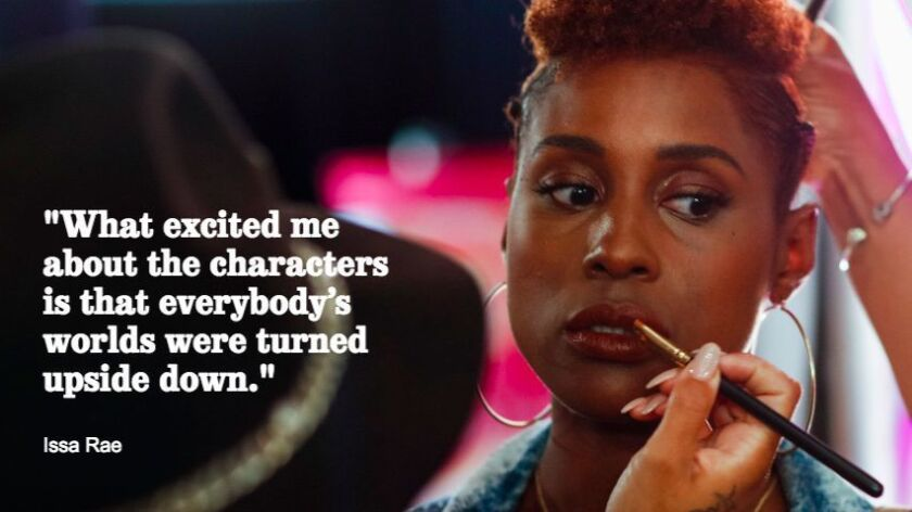 Issa Rae, receiving final makeup on location at the W Hollywood hotel, while filming scenes for HBO'