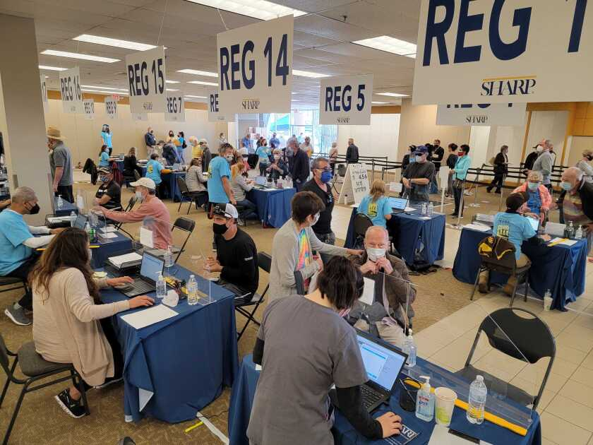 Hundreds flocked to the Sharp HealthCare vaccination station in Chula Vista Center