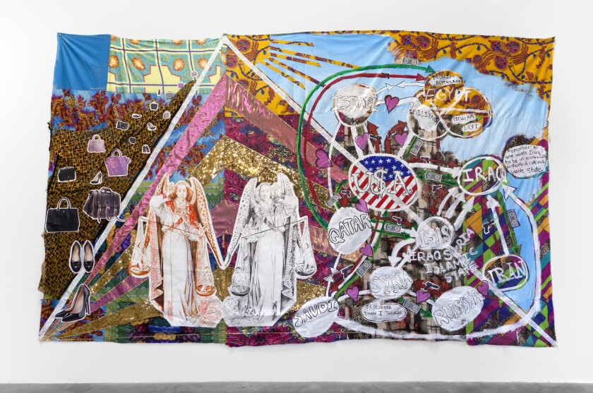 """Christine Wang's """"I Want That Bag,"""" 2014, acrylic, fabric and mixed media, 187 inches by 115 inches."""