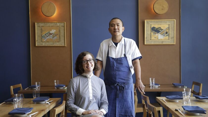 LOS ANGELES, CA -- JUNE 29, 2018: Courtney Kaplan and Charles Namba are co-owners of Tsubaki in Echo
