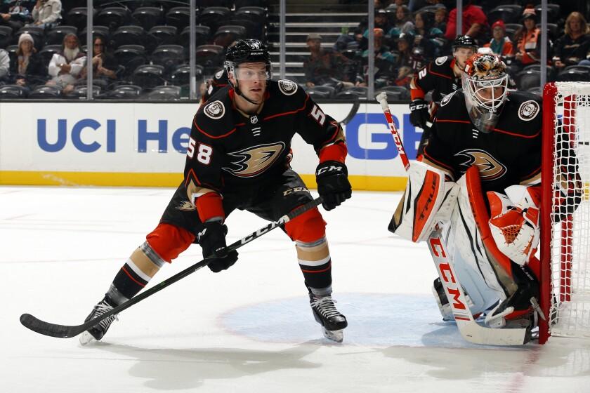 Ducks defenseman Brogan Rafferty skates during a preseason game.