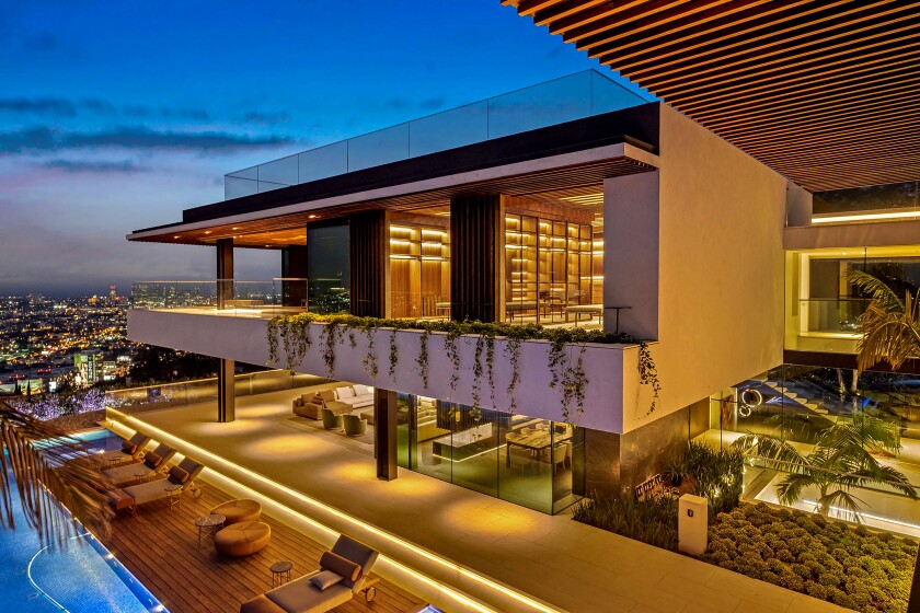 At 20,058 square feet, the contemporary showplace is among the largest homes in the Hollywood Hills.