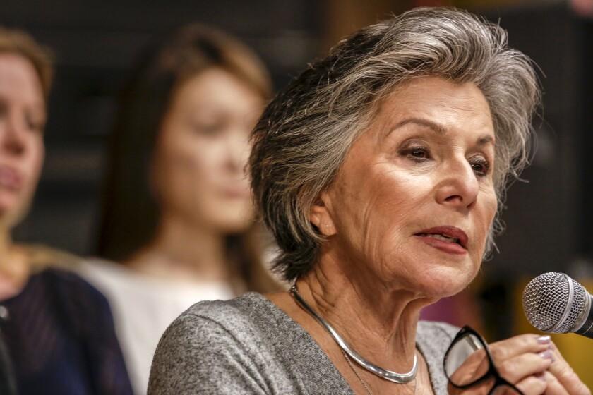 Sen. Barbara Boxer is seen speaking in Porter Ranch last February.