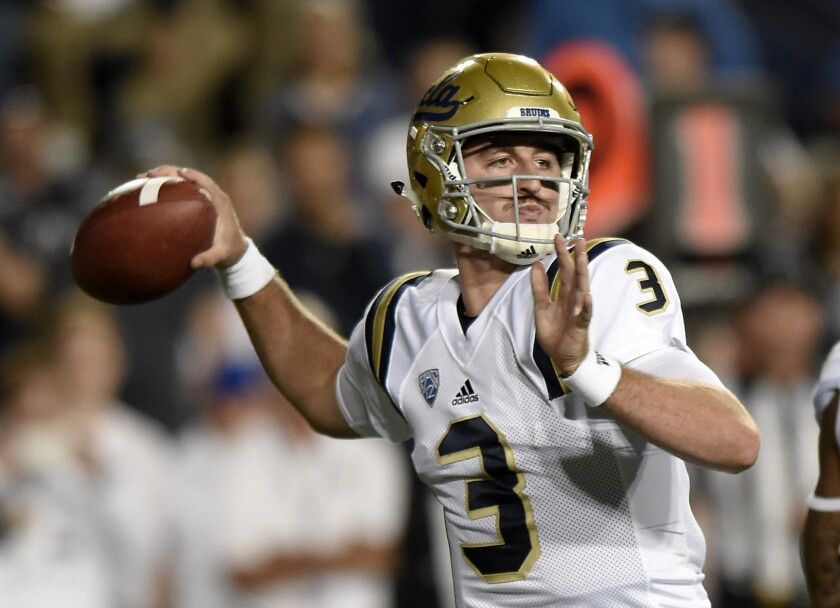 UCLA quarterback Josh Rosen looks to pass during the Bruins' game against Brigham Young last weekend.