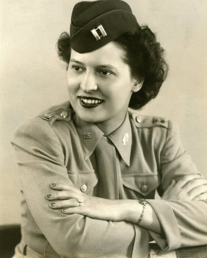In this 1940's photo provided by the OSS Society, U.S. Army Capt. Stephanie Rader poses for a photograph. Rader was recommended for the Legion of Merit in 1946 for her intelligence on Soviet troop movements in Poland, but her nomination was not acted upon for seven decades. Rader, who was a groundb