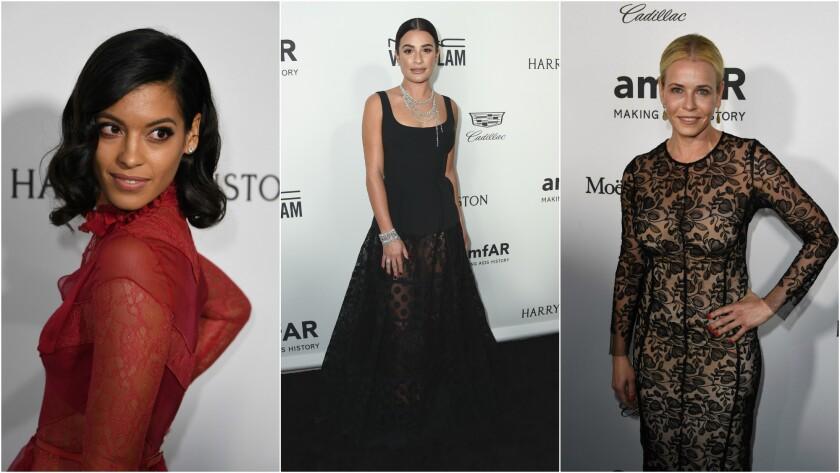 Stephanie Sigman, Lea Michele and Chelsea Handler arrive for amfAR's Inspiration Gala Los Angeles at Milk Studios on Thursday.