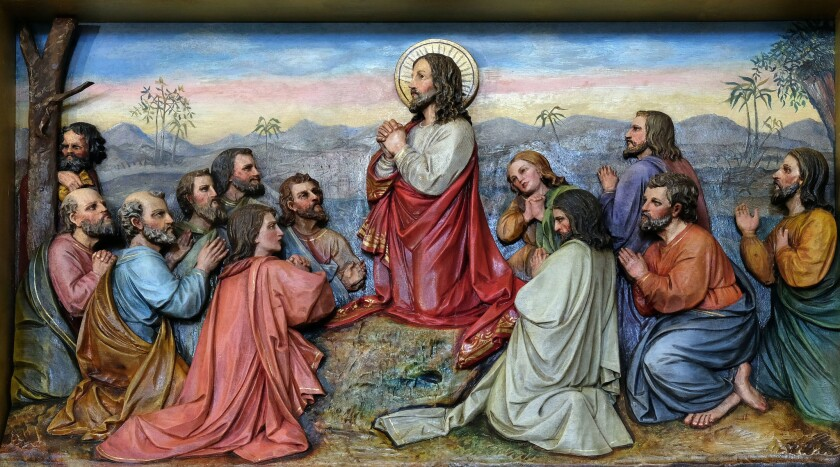 Jesus and Apostles in the Mount of Olives.