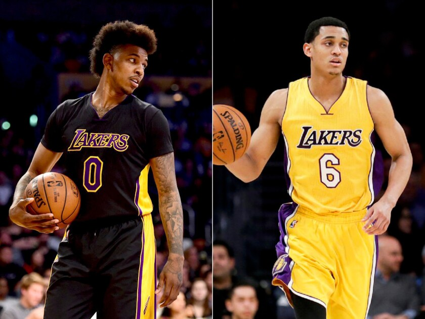 Nick Young has denied he and teammate Jordan Clarkson, right, harassed two women in a car on March 20.