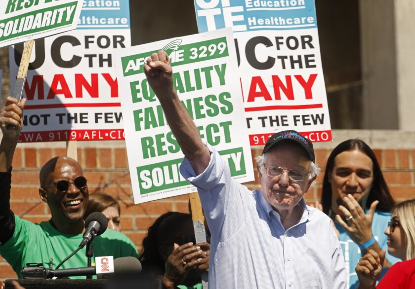 Bernie Sanders at a one-day strike by University of California workers