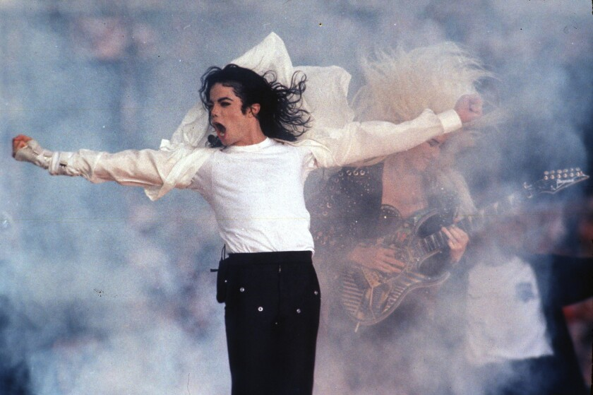 Pop superstar Michael Jackson performing at halftime of the 1993 Super Bowl in Pasadena.