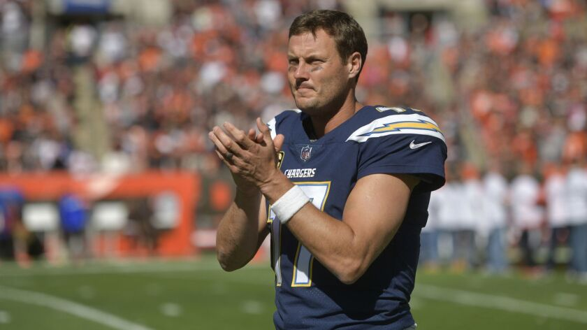 FILE- In this Sunday, Oct. 14, 2018, file photo, Los Angeles Chargers quarterback Philip Rivers (17)