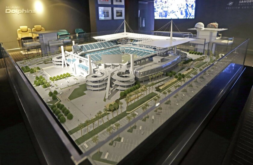 A model shows the planned renovations to the Miami Dolphins' NFL football stadium, Thursday, June 2, 2016, in Miami Gardens, Fla. The first game of 2016 is three months away, and the stadium is far from ready. But Dolphins officials say they're on schedule with a major renovation, thanks to crews w