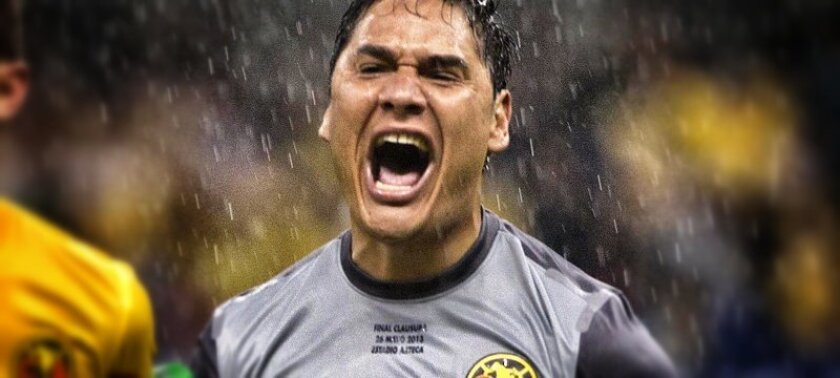Goalkeeper Moises Munoz celebrates after his heroics give Club America the Liga MX title last May against Cruz Azul.