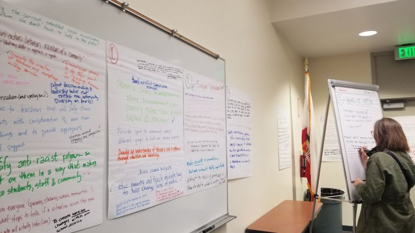 A community member writes what she thinks the goals of the Newport-Mesa Unified School District's new Human Relations Task Force should be during its first meeting on March 27, 2019.