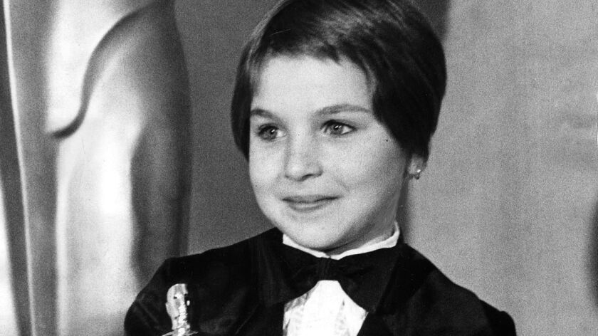 """Best supporting actress (""""Paper Moon"""") Tatum O'Neal, April 2, 1974, at the 46th Academy Awards."""