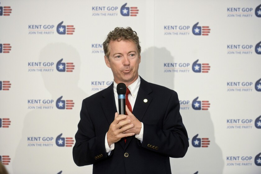 Kentucky Sen. Rand Paul speaks during an event hosted by Mighigan Rep. Justin Amash at the Kent County Republican Party Headquarters in Grand Rapids, Mich., Monday.