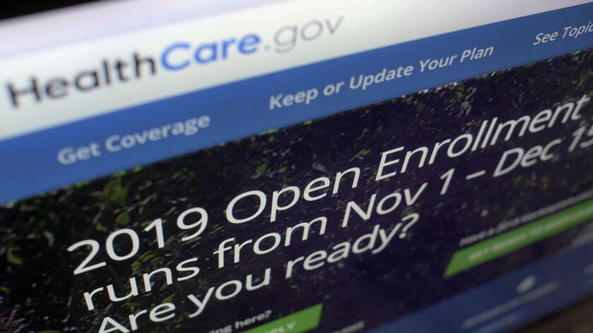 The HealthCare.gov open enrollment portal on a computer screen in New York.