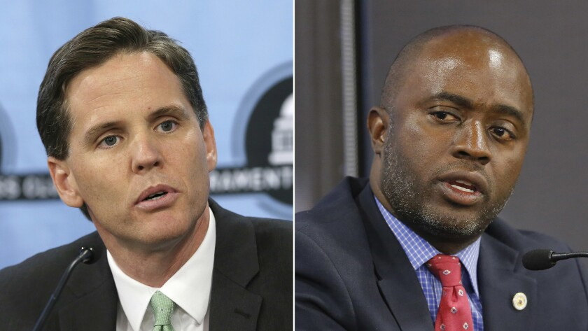 Left, Marshall Tuck, a former charter schools executive, appears at a Sacramento Press Club debate on Oct. 6. Right, Assemblyman Tony Thurmond (D-Richmond) appears at a candidates debate hosted by the Sacramento Press Club on Sept. 11.