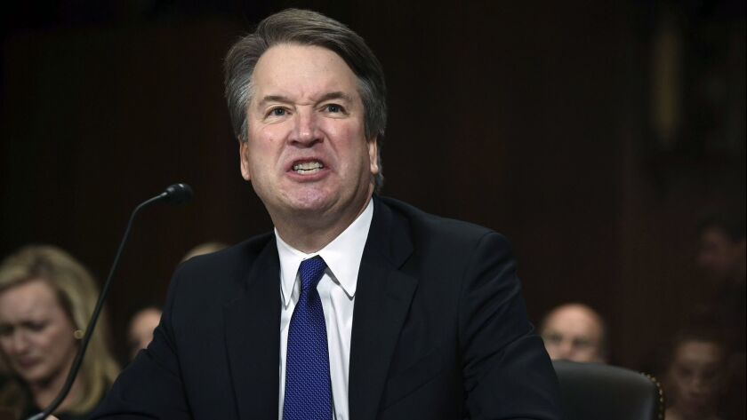 In this Sept. 27, 2018, photo, Supreme Court nominee Judge Brett Kavanaugh gives his opening stateme