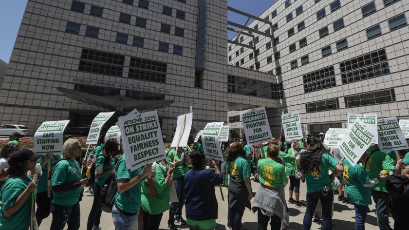 WESTWOOD, CA, MONDAY, MAY 7, 2018 - Demonstrators parade in front of Ronald Reagan Medical Center to