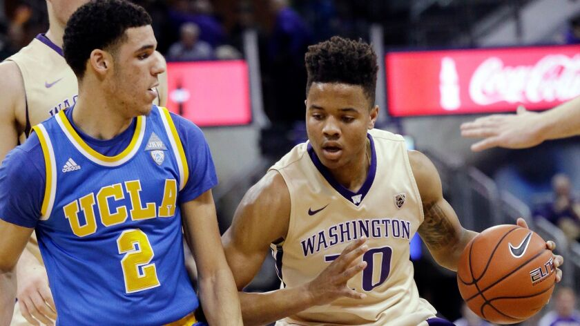Washington's Markelle Fultz, right, is defended by UCLA's Lonzo Ball on Feb. 4.
