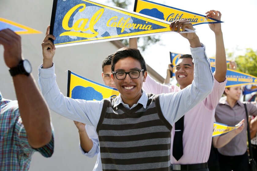 Luis Galvan, 17, a senior at La Jolla High School, joins a procession of scholarship winners during a Reality Changers ceremony at the University of San Diego on Sunday. Galvan will head to UC Berkley in the fall. Photos by Nancee E. Lewis / Nancee Lewis Photography.