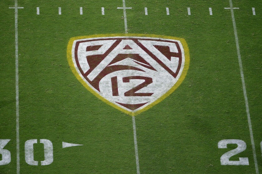 The Pac-12 logo at Sun Devil Stadium