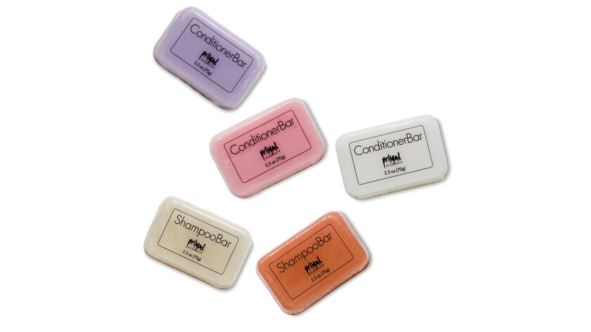 Primal Elements Soap-style bars made of shampoo and conditioner are intended to reduce landfill wast