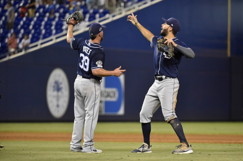 Padres closer Kirby Yates celebrates a victory in Miami in July with first baseman Eric Hosmer.