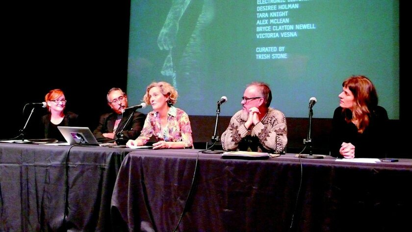 Trish Stone, Richardo Dominguez, Ursula Damm, Brett Stalbaum and Katarina Rosenberger comprise the panelists.