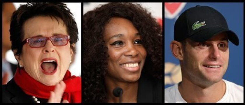 This photo combo shows, from left to right, shows former tennis player Billie Jean King, and tennis players Venus Williams and Andy Roddick. World Team Tennis announced Monday, May 6, 2013, that Williams and Roddick will become part owners of Billie Jean King's summer league for male and female players. King has run the WTT since the 1970s. (AP Photo)