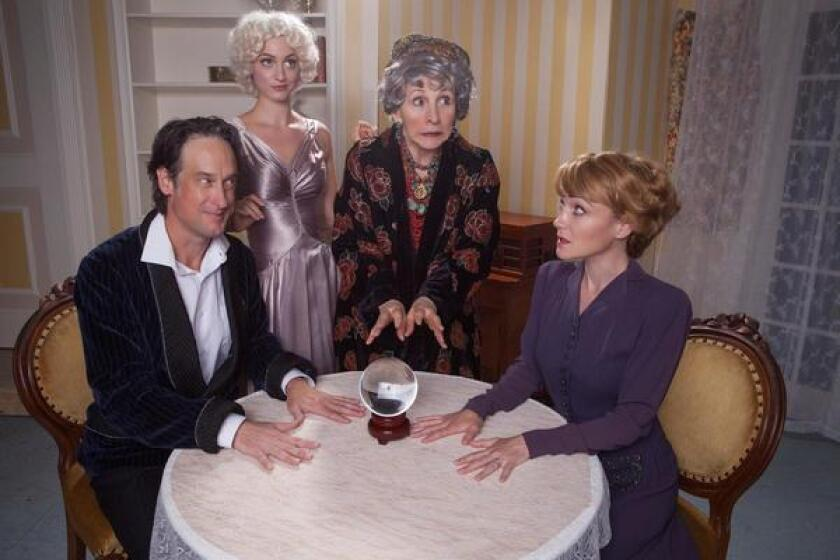 J. Todd Adams, Teagan Rose, Susan Denaker and Joanna Strapp share a séance in Noel Coward's 'Blithe Spirit,' on stage Sept. 5-30, 2018 at North Coast Repertory Theatre in Solana Beach.