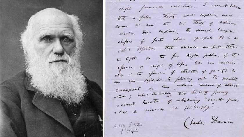 "A signed manuscript page from Charles Darwin's ""On the Origin of Species"""