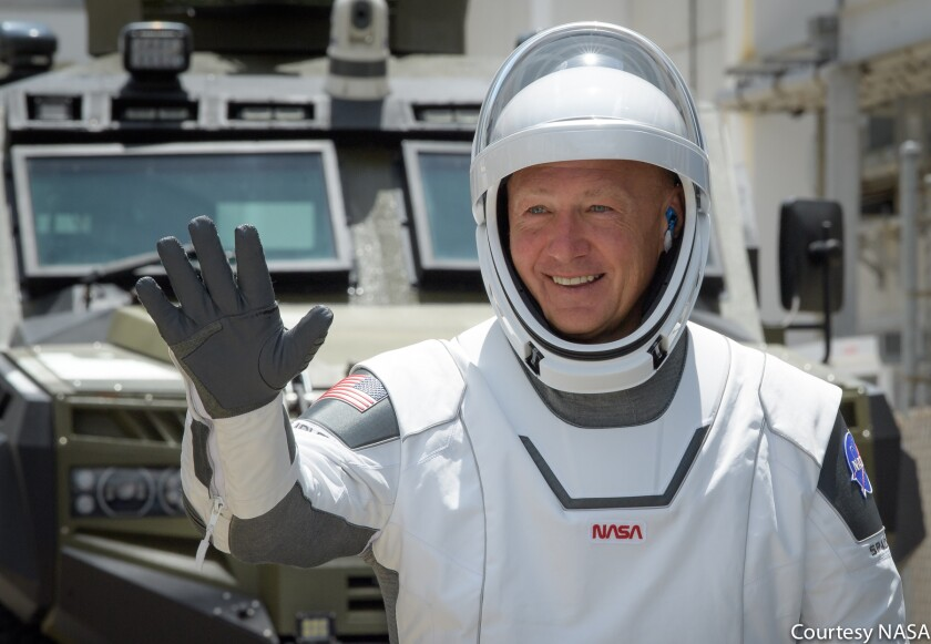 Douglas Hurley departing to board the SpaceX Crew Dragon (May 30, 2020)