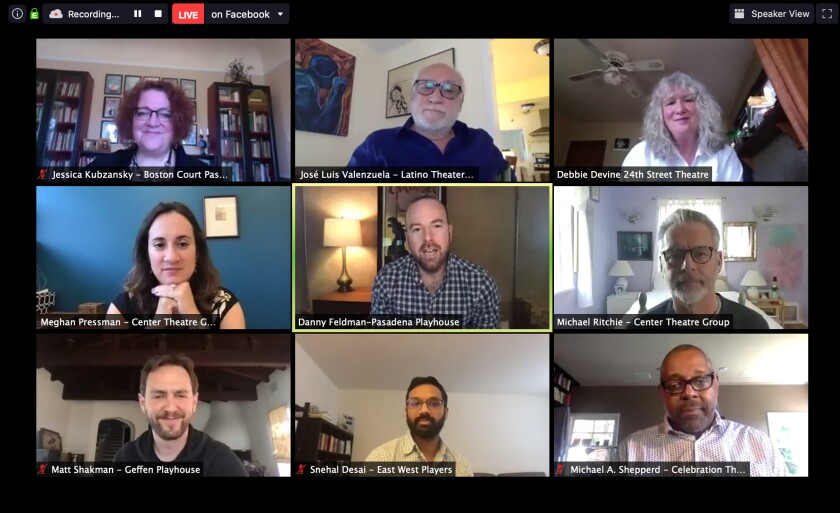 "Los Angeles-area theater leaders got together for a Zoom conference titled ""L.A. Theatre in the Time of a Pandemic and Beyond."""
