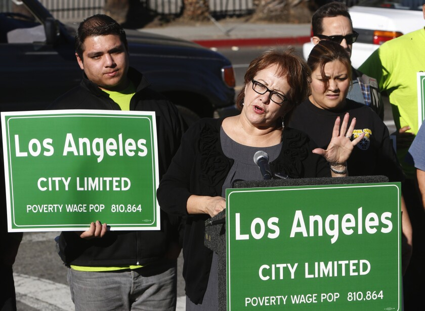 Maria Elena Durazo of the Los Angeles County Federation of Labor speaks at a news conference about a study that found that 46% of wage and salary workers in the city of L.A. make less than $15 an hour.
