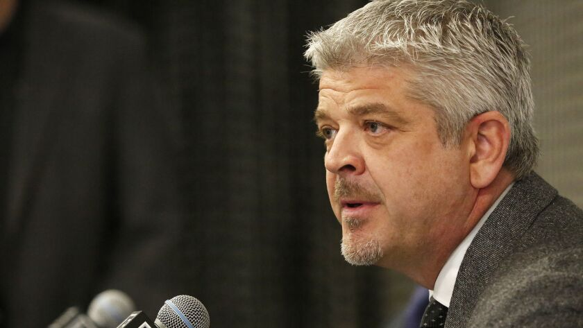 Todd McLellan addresses the media at a news conference after his introduction as Kings coach on April 17 at the Toyota Sports Center in El Segundo.
