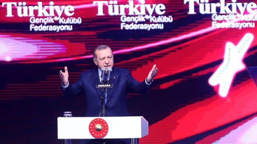 Turkish President Recep Tayyip Erdogan delivers a speech on March 7, 2017, in the capital, Ankara.