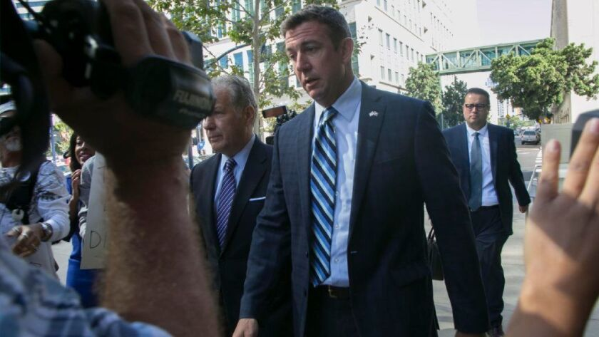 Rep. Duncan Hunter (R-Alpine) walks into the federal courthouse in San Diego for his arraignment on charges that he and his wife misused $250,000 in campaign contributions.