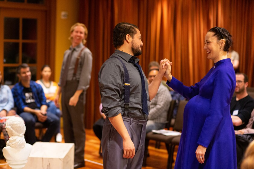 """Eric Hagen, Carlos Angel-Barajas and Sofia Jean Gomez (from left) in """"The Winter's Tale."""""""