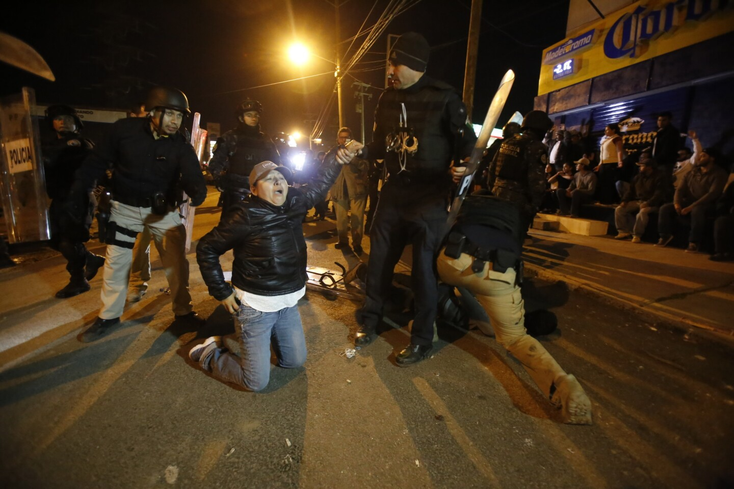 Tijuana Baja California, Mexico, January 7th, 2017: | Protesters are met by police presence in Rosarito. Police charged the protestors. | (Alejandro Tamayo, The San Diego Union-Tribune)