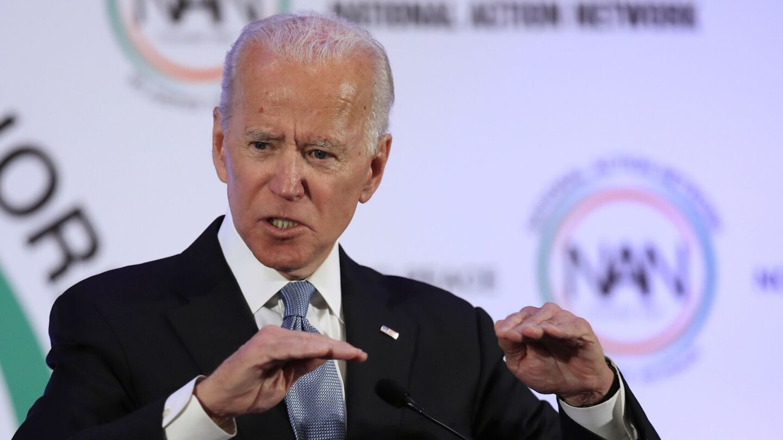 Former Vice President Joe Biden speaks at a breakfast in Washington commemorating Martin Luther King Jr. Day.