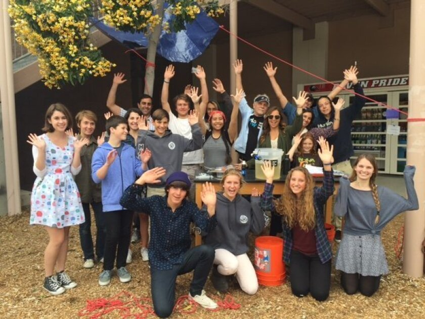 Jack Rose, founder of Waves4Water, provided a hands-on demonstration of his rain-catcher and water filter system to a group of students from Canyon Crest Academy.