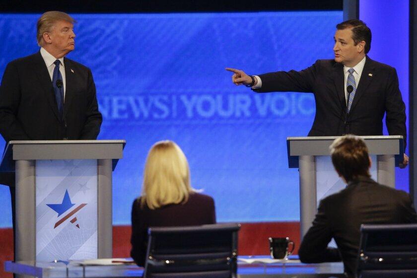 Republican presidential candidate, Sen. Ted Cruz, R-Texas, points at Republican presidential candidate, businessman Donald Trump during a Republican presidential primary debate on Feb. 6, 2016.