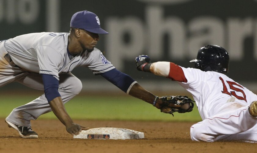 Pedro Ciriaco tags out former teammate Dustin Pedroia trying to steal second base in the fifth inning.