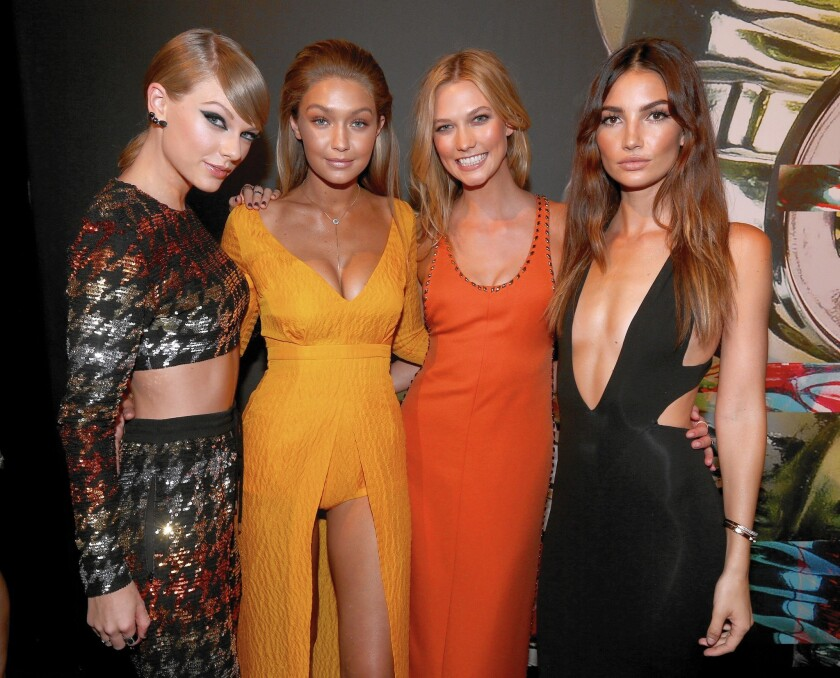 Performer Taylor Swift, left, and models Gigi Hadid, Karlie Kloss and Lily Aldridge attend the 2015 MTV Video Music Awards at Microsoft Theater on Aug. 30, 2015 in Los Angeles.
