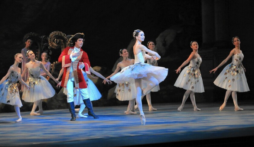 """Diana Vishneva portrays Aurora and Marcelo Gomes is Prince Désiré on opening night of American Ballet Theatre's """"The Sleeping Beauty"""" at the Segerstrom."""