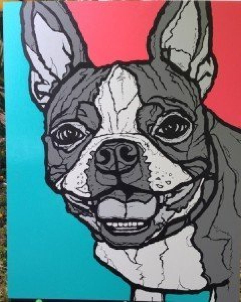 """Todd Murphy of Solana Beach paints pet portraits, including """"smush-face dogs"""" like the Boston terrier."""