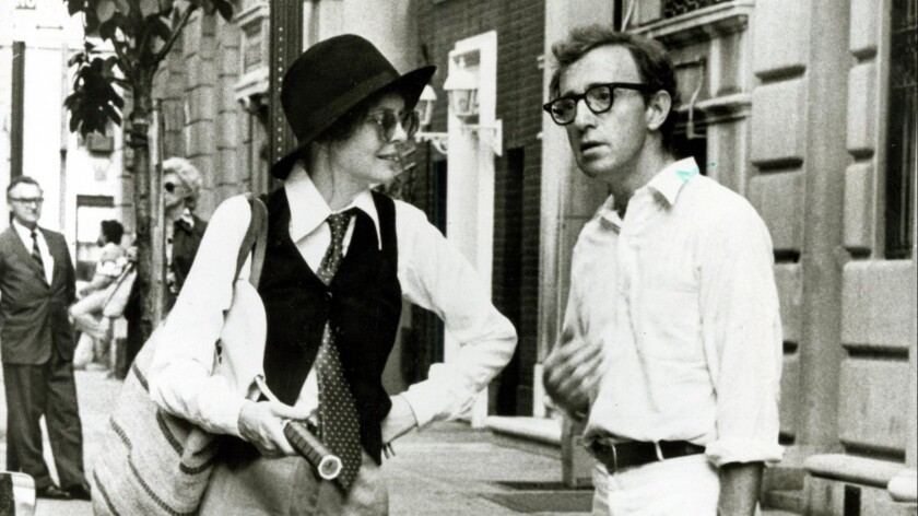 1977: Alvie Singer (Woody Allen) and Annie Hall (Diane Keaton) chat on the street after having met