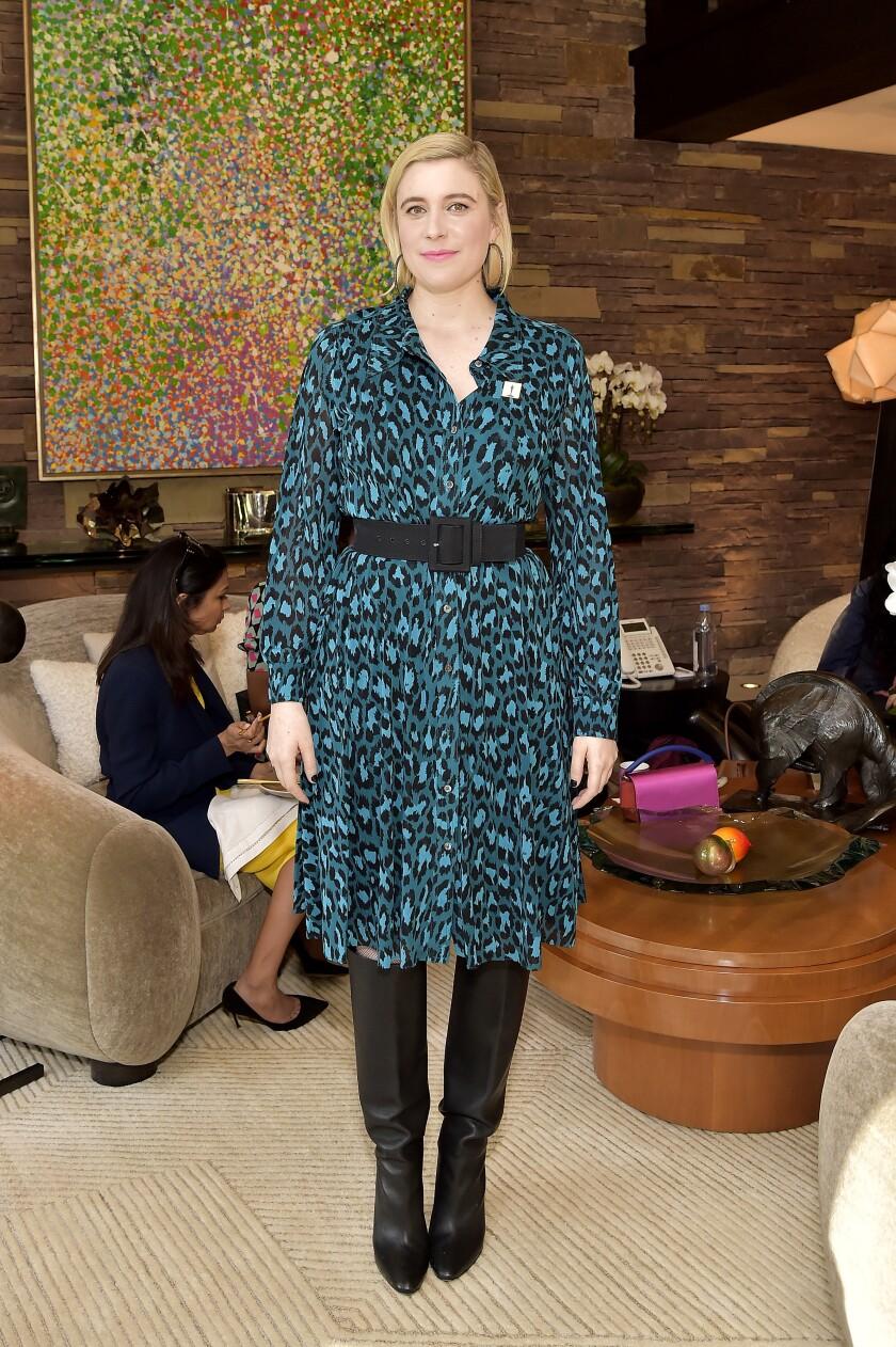Greta Gerwig at an Oscars luncheon on Wednesday at designer Diane von Furstenberg's home.